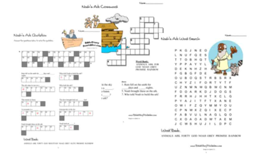 picture about Printable Bible Crossword Puzzles With Scripture References known as Noahs Ark Bible Printables - Bible Tale Printables